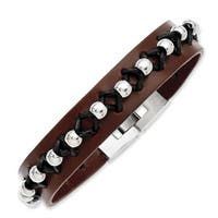 Stainless Steel Brown Leather with Polished Beads 8.5in Bracelet