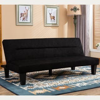 Belleze Premium Convertible Sofa Futon Microfiber Couch Bed Legs Multifunctional Adjule Black