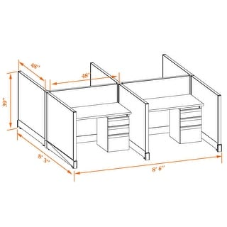 Small Office Cubicles 39H 4pack Cluster Unpowered (4x4 - Espresso Desk White Paint - Assembly Required)