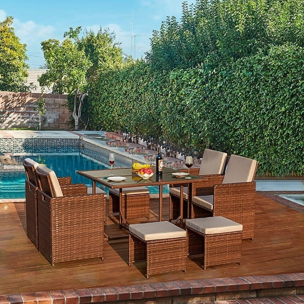 Patio Dining Set Outdoor, Wicker Rattan Chairs, Glass Table. Opens flyout.