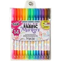 Assorted Colors - Tulip Dual-Tip Fabric Marker Set 14Pc