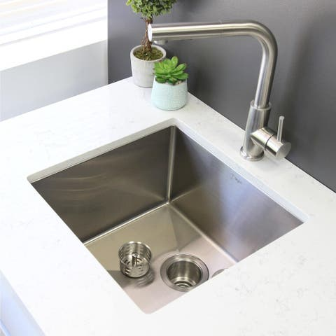 """25""""L x 18""""W Stainless Steel Single Basin Undermount Kitchen Sink with Grid and Strainer"""
