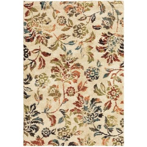 Copper Grove Almere Beige/Multicolored Botanical Print Area Rug