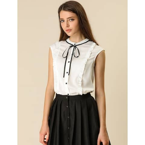 Women's Cute Tie Neck Sleeveless Ruffle Button Down Chiffon Summer Shirt