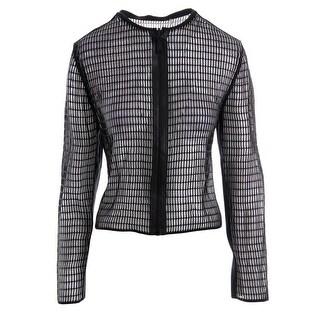 Elie Tahari Womens Emeline Leather Trim Reversible Casual Blazer - S