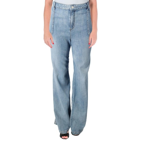 Jessica Simpson Womens Charleston Wide Leg Jeans Mid-Rise Light Wash