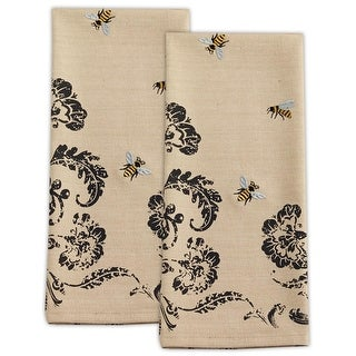 Set of 2 Whimsical Light Beige & Black Floral Print w/ Embroidered Bees Kitchen Dish Towel Accessory