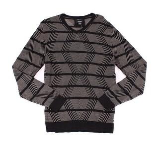 Alfani Black Men 2XL Linen Blend Stripe Diamond Knit V-Neck Sweater