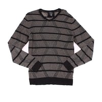 Alfani NEW Black Mens Size Medium M V-Neck Striped Ribbed Sweater