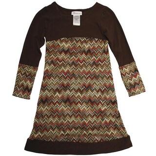 Bonnie Jean 7-16 Knit Flame Stitch Dress - Brown