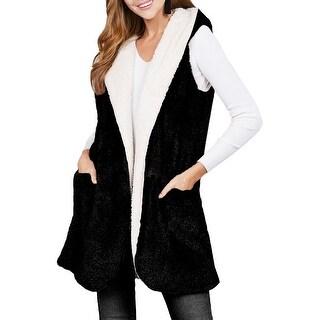 NE PEOPLE Womens Faux Fur Open Front Reversible Hooded Vest w/ Pockets NEWJ215