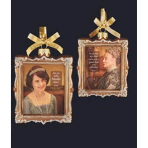 "4"" Downton Abbey Gold Glass Cora Crawley and Violet Crawley Picture Frame Christmas Ornament"