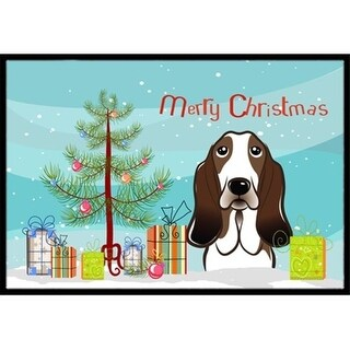 Carolines Treasures BB1615MAT Christmas Tree & Basset Hound Indoor or Outdoor Mat 18 x 27
