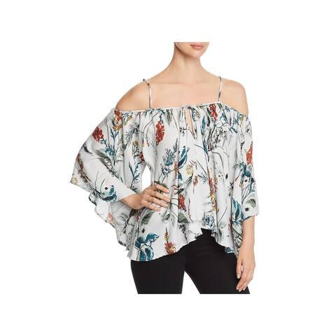 Elan Womens Blouse Cold Shoulder Floral - O/S