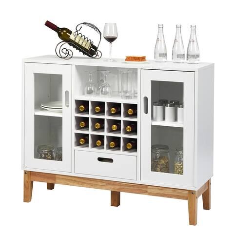 Costway Wood Wine Storage Cabinet w/ Wine Rack & Drawer - See Description