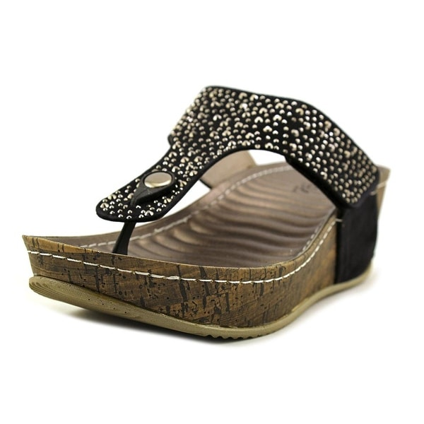 97e06f0fb1c1 Patrizia By Spring Step Dionne Women Open Toe Synthetic Black Wedge Sandal