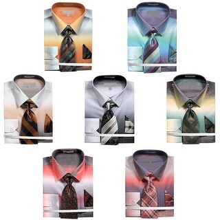 Men's Ombre Chambray Dress Shirt with Tie and Handkerchief