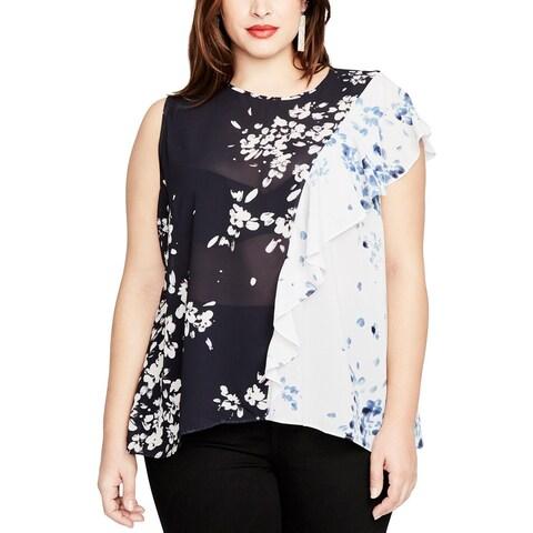 Rachel Roy Womens Plus Blouse One Shoulder Floral Print