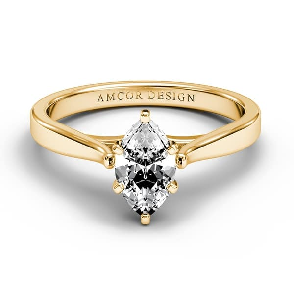 Shop 14kt Gold 1 2 Carat Diamond Engagement Ring Marquise Prong Solitaire On Sale Overstock 29813503