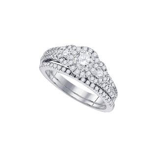 1 Ctw Diamond 1/3Ctw-Crd Bridal Set White-Gold 14K