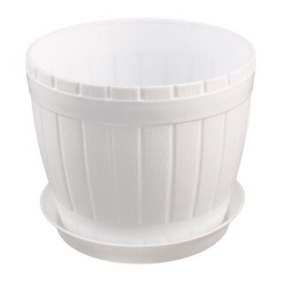 Garden Plastic Cylinder Plant Grass Flower Vegetable Planting Holder Pot White