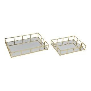 Rectangular Mirror Tray with Geometric Metal Frame,Set of 2,Gold and Silver