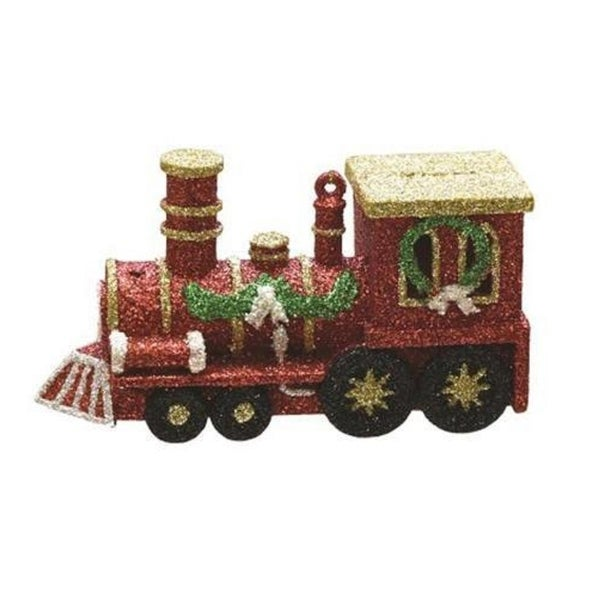 "4.5"" Merry & Bright Red, Gold and Green Glitter Shatterproof Christmas Train Ornament"