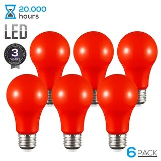 TORCHSTAR Red LED A19 Colored Light Bulb, E26 Base, 7W (50W Equiv.), 3 Years Warranty, Pack of 6