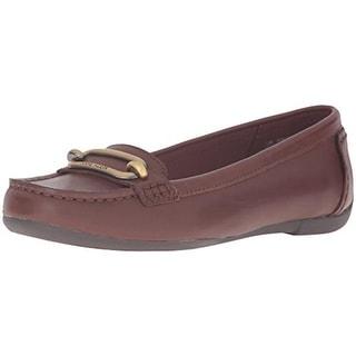 Anne Klein Womens Noris Leather Moc Toe Moccasins - 9 medium (b,m)