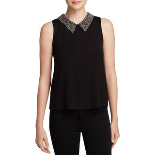 Aqua Womens Pullover Top Beaded Collared - xs