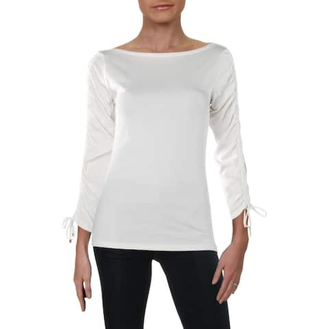 Lauren Ralph Lauren Womens Blouse Boat Neck Long Sleeves