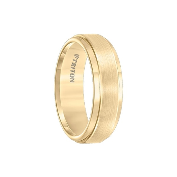 CRISANTO Yellow Gold Plated Tungsten Weeding Band with Polish Finished Step Edge and Raised Brushed Center by Triton Rings - 7mm