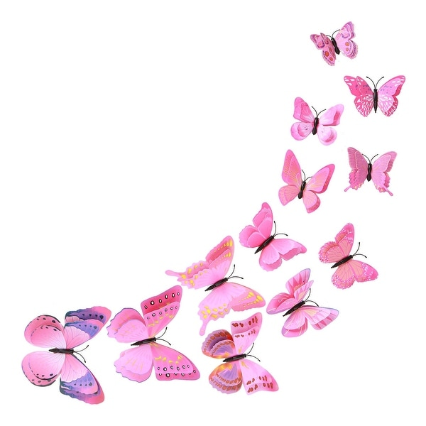 12pcs 3D Butterfly Wall Sticker Decal Sticker for Bedroom Decoration Pink