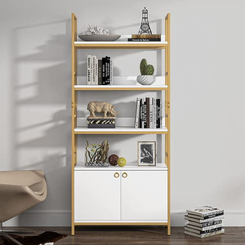 4 Tier bookcase with door white Etagere standard bookcase with cabinet