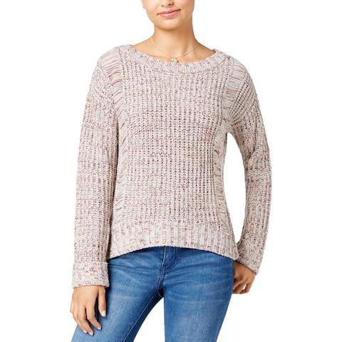 One Hart Womens Juniors Crewneck Sweater Textured Cuff Sleeves
