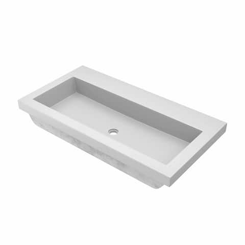 "36"" NativeStone Trough Drop-in Rectangular Bathroom Sink - 36"" x 19"" x 5"""