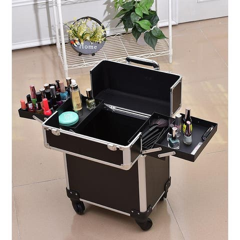 Kanstar Aluminum Portable Cosmetic Beauty Hairdressing Makeup Box Case Storage Trolley