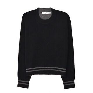 Dior Women's Black Cashmere J'Adior 8 Crewneck Cropped Sweater