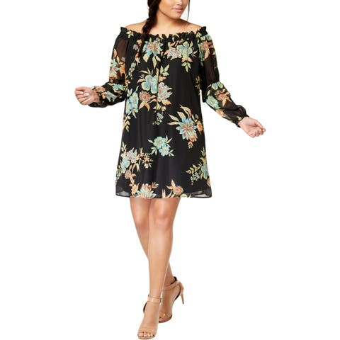 Eyeshadow Womens Plus Casual Dress Floral Print Off The Shoulder