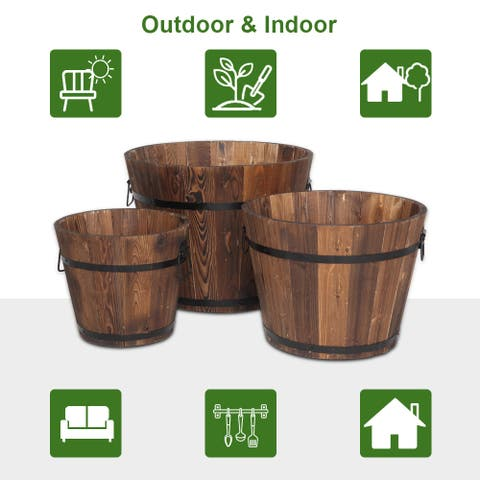 Outdoor Decoration Wooden Flowerpot Set Of Three