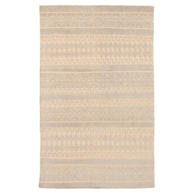 ECARPETGALLERY Hand-knotted Tangier Light Grey Wool Rug - 5'1 x 7'11