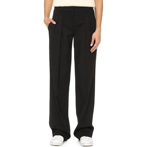 Donna Karan Women's Dress Pants Black Size 2 Wide Leg Pleated Stretch