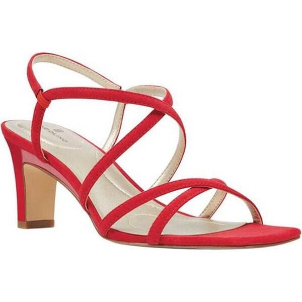 af077a68496 Shop Bandolino Women's Obexx Strappy Sandal Crimson Faux Suede ...