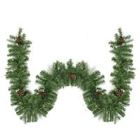 "9' x 10"" Pre-Lit Noble Fir with Red Berries & Pine Cones Artificial Christmas Garland - Clear Lights - green"