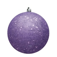 6 in. Lavender Sequin Drilled Christmas Ornament Ball - 4 per Bag