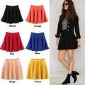 Women's Short Stretch High Waist Plain Skater Flared Pleated Mini Skirt Dresses - Thumbnail 0