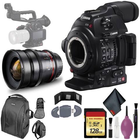 Canon C100 MarkII EOS Camera CMOS AF - 128GB - ROKINON 24MM T/1.5 LENS