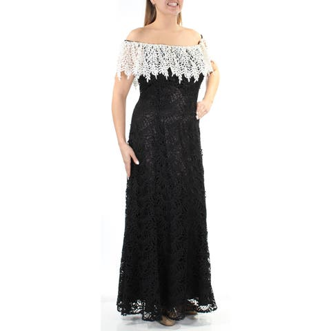1484bbdd9a421 TAHARI Womens Black Embroidered Sleeveless Off Shoulder Maxi A-Line Evening  Dress Size: 14