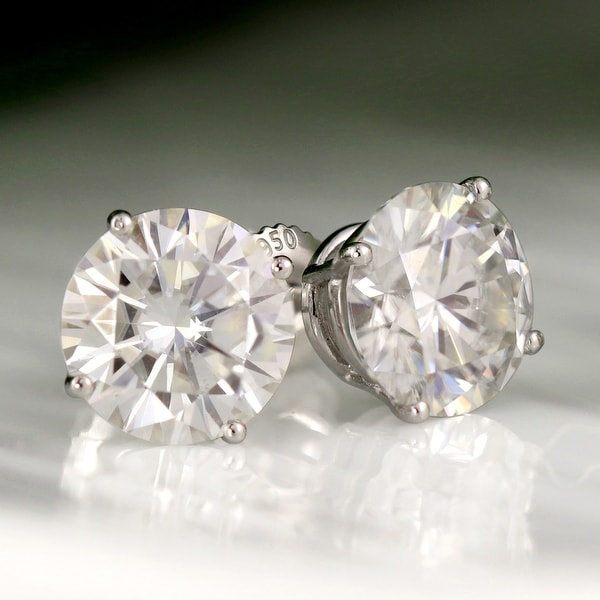 Auriya 2ctw Round Moissanite Stud Earrings Platinum 4-Prong Basket - 6.5 mm. Opens flyout.