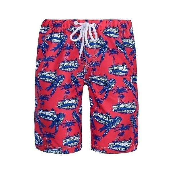 Sun Emporium Little Boys Navy Red White Parrot Island Print Board Shorts